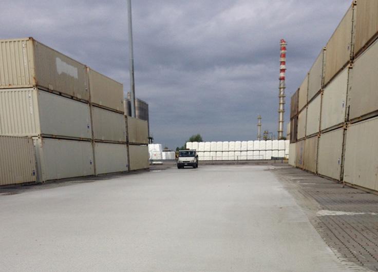 Riqualificazione piazzale deposito container, polo chimico di Ferrara, committente LyondellBasell Industries